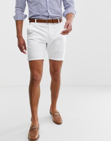 Asos Design Skinny Chino Shorts In White - White
