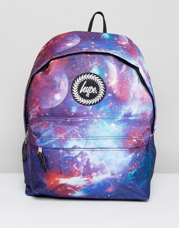 Hype Backpack In Navy Space Print - Blue