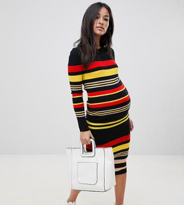 Asos Design Maternity Dress In Rib Striped Knit - Multi
