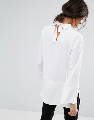 Jaeger Tie Neck Detail Tunic - White