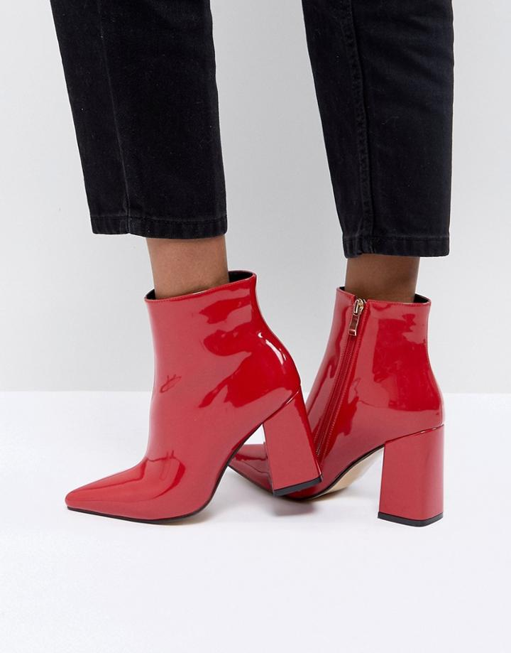 Public Desire Empire Red Block Heeled Ankle Boots - Red