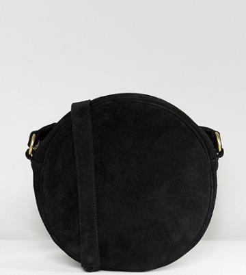Reclaimed Vintage Inspired Suede Round Cross Body Bag - Black