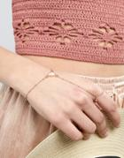 Asos Design Moonstone Dot Dash Hand Chain - Gold