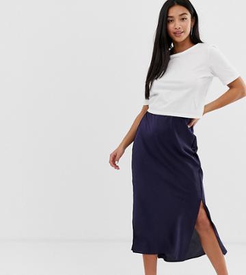 Asos Design Petite Bias Cut Satin Midi Skirt With Splits - Navy