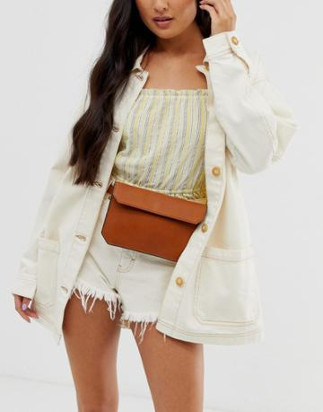 Asos Design Flat Fanny Pack - Tan
