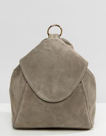 Asos Suede Minimal Backpack With Ring Pull Detail - Gray
