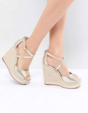 Dune Espadrille Wedge In Gold - Gold