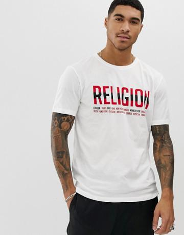 Religion T-shirt With Cities Logo-white