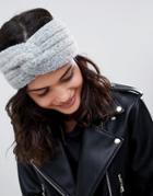 Asos Design Fluffy Knit Headband - Gray