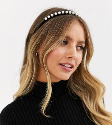 Reclaimed Vintage Inspired Pearl Detail Headband With Tie - Black