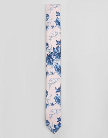 Asos Wedding Tie In Pink Floral Print - Pink