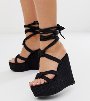 Asos Design Wide Fit Will Power Rope Wedges In Black