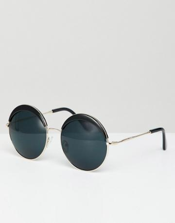 Jeepers Peepers Oversized Round Sunglasses In Black - Black
