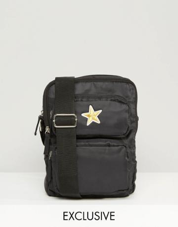 Reclaimed Vintage Flight Bag With Star - Black