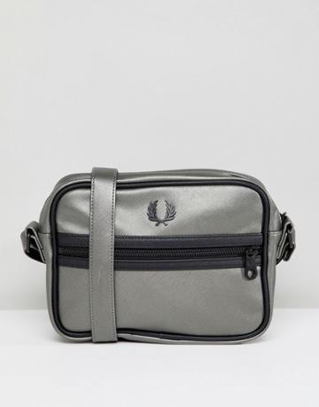 Fred Perry Metallic Zip Cross Body Bag - Silver