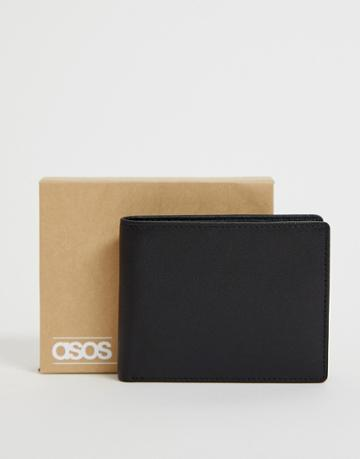 Asos Design Leather Wallet With Charcoal Contrast Internal - Black