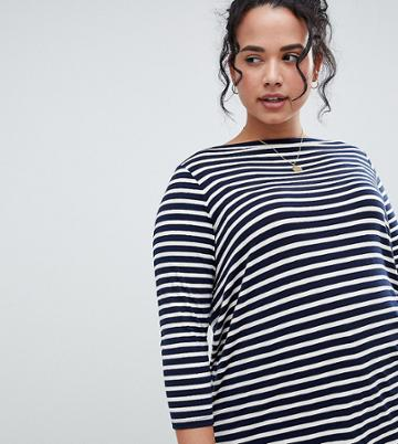 Asos Design Curve Slouchy Long Sleeve T-shirt In Stripe - Multi