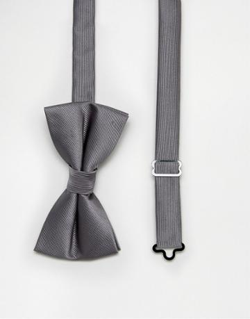 Asos Bow Tie In Charcoal - Gray