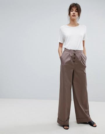 Asos Clean Utility Pant Pants With Exposed Button - Stone