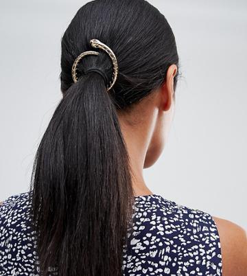 Orelia Halloween Snake Open Circle Hair Clip - Gold