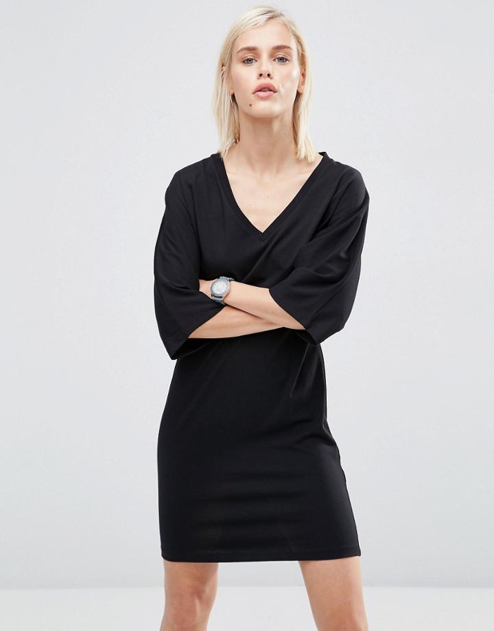 Asos Mini T-shirt Dress With Kimono Sleeve - Black
