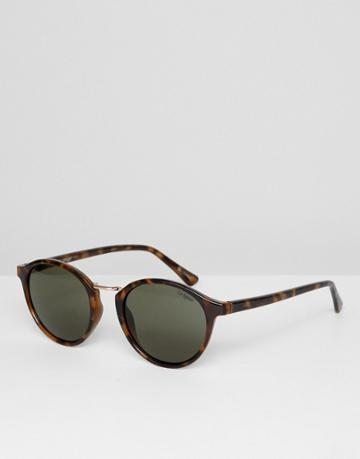Le Specs Paradox Round Sunglasses In Tort - Brown