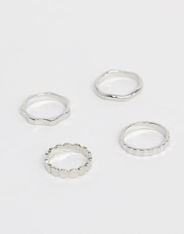Asos Design Pack Of 4 Rings In Mixed Texture Designs In Silver Tone - Silver