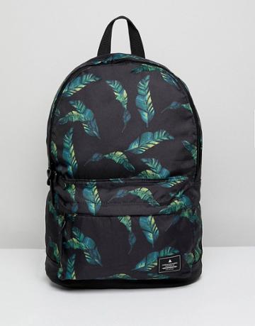 Asos Backpack Black With Leaf Print Design - Black