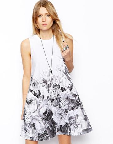 Asos Swing Dress With Floral Border Print
