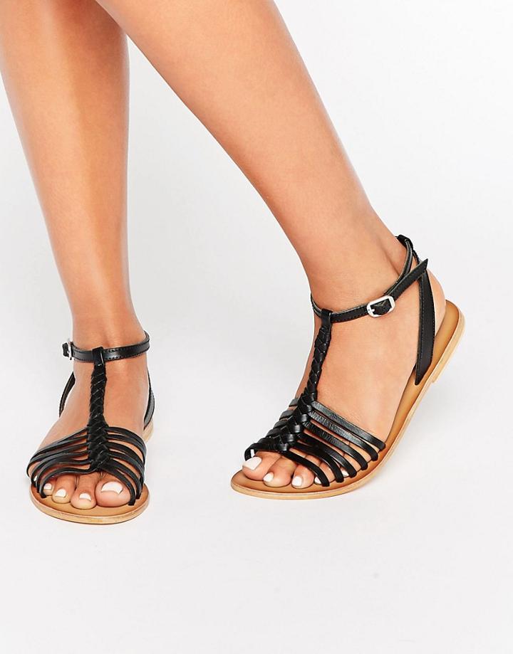 Asos Farlorn Leather Plaited Sandals - Black