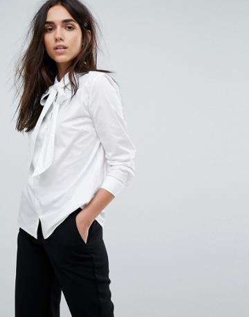 Selected Bow Tie Neck Shirt - White