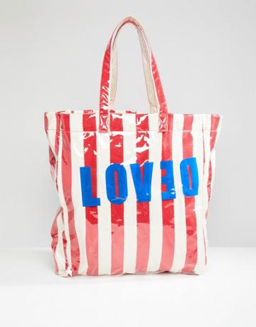 Stradivarius Love And Stripe Beach Bag - Multi