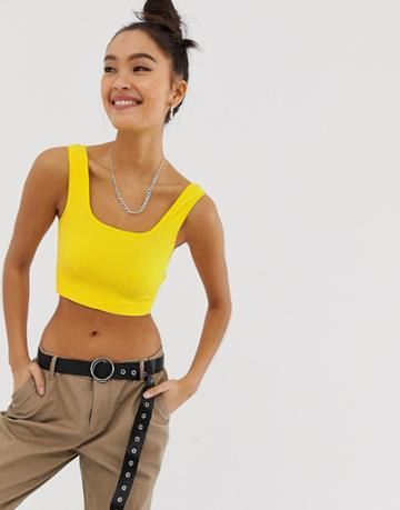 Noisy May Square Neck Crop Top - Yellow