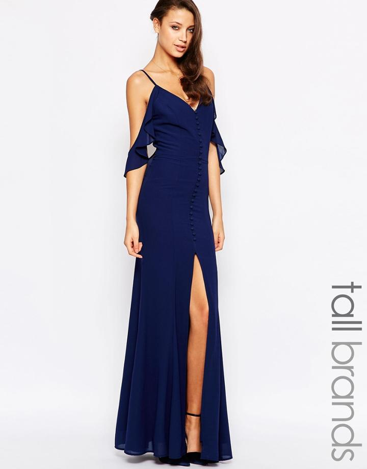 Jarlo Tall Button Through Maxi Dress With Frill Shoulder Detail - Navy