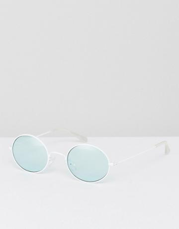 Asos Oval Sunglasses In White With Light Turquoise Lens - White