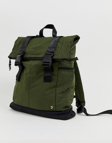 Farah Nylon Backpack In Khaki-green