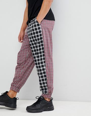 Asos Design Tapered Woven Joggers In Half And Half Check - Red