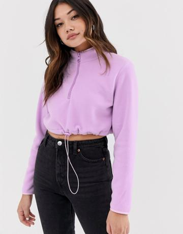 Asos Design Cropped Fleece With Zip - Purple