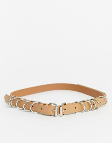 Asos Design Skinny Waist And Hip Double Buckle Multi Ring Belt In Beige
