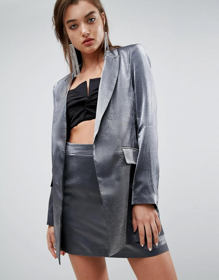 Asos Tailored Metallic Blazer - Silver
