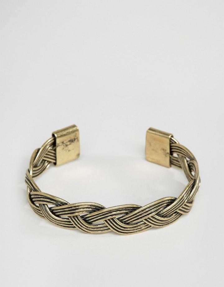 Asos Plaited Bangle In Gold - Gold