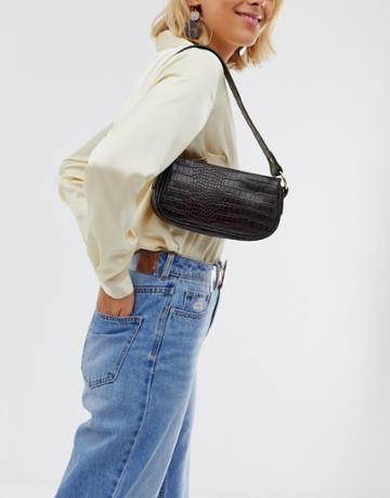 Asos Design Croc Effect 90s Shoulder Bag - Brown