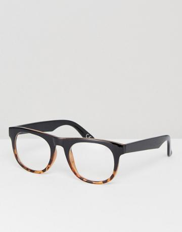 Asos Square Glasses In Tort Fade With Clear Lens - Brown