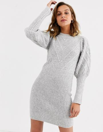 River Island Knitted Dress With Puff Sleeves And Stitch Detail In Gray