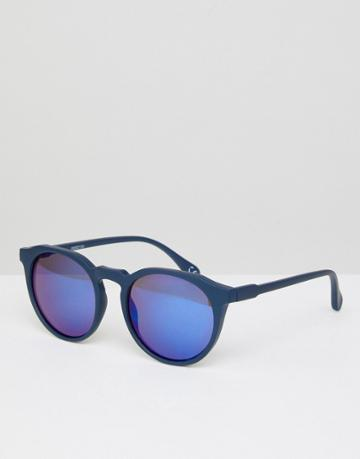 Asos Round Sunglasses In Matte Navy With Blue Mirror Lens - Blue