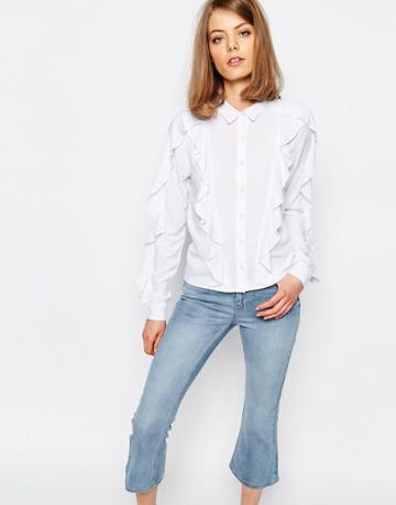 Lost Ink Shirt With Ruffle Detail - White