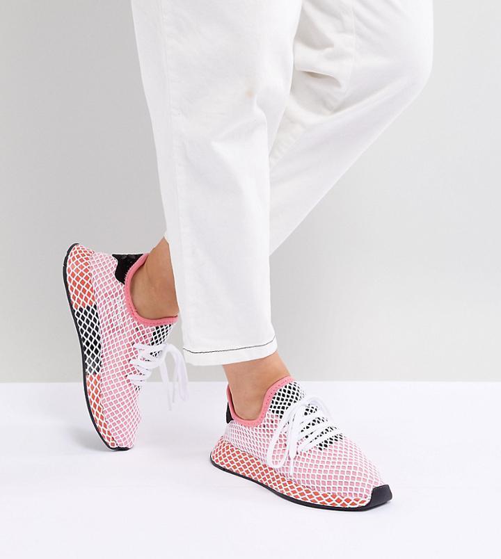adidas originali deerupt runner scarpe in rosso e rosa rosa