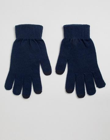 Asos Design Touch Screen Gloves In Recycled Polyester-navy