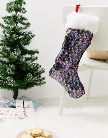 Paperchase Holidays Rainbow Stocking Decoration - Multi