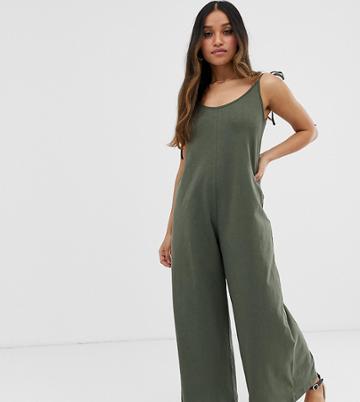 Asos Design Petite Minimal Jumpsuit With Tie Back In Linen Look - Green